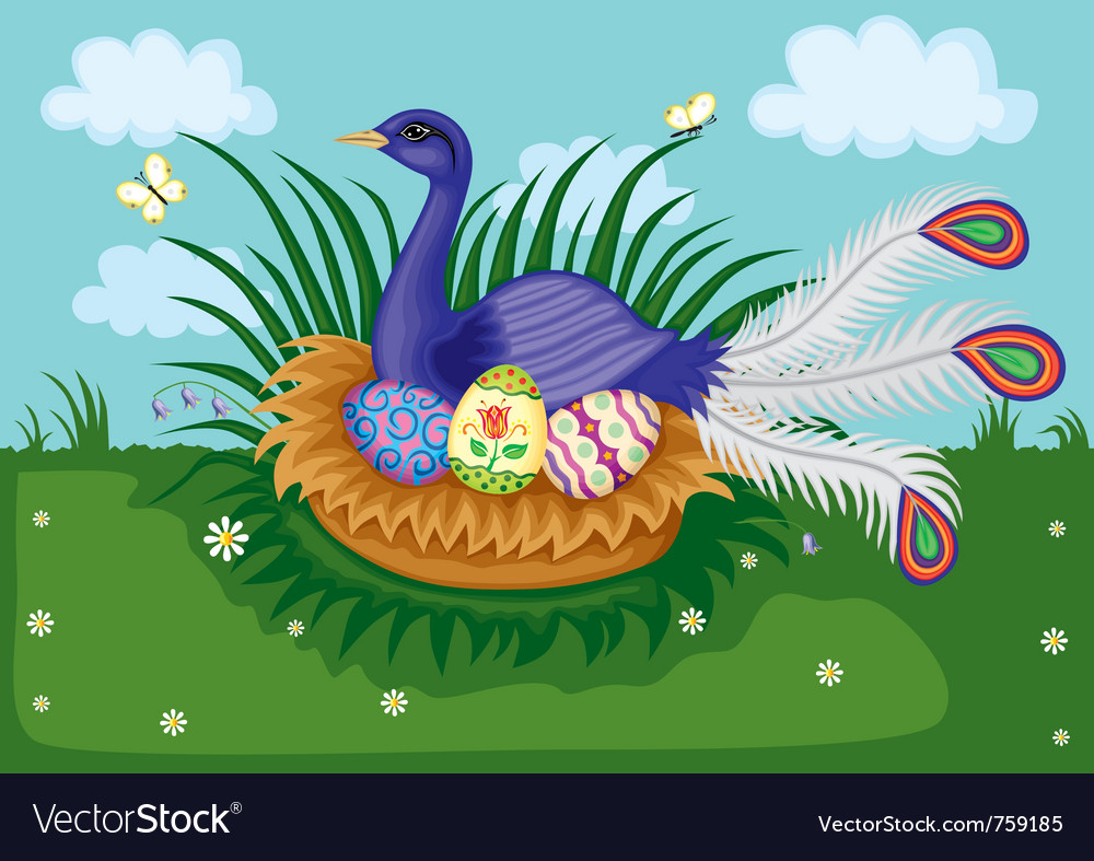 Bird on nest vector | Price: 3 Credit (USD $3)