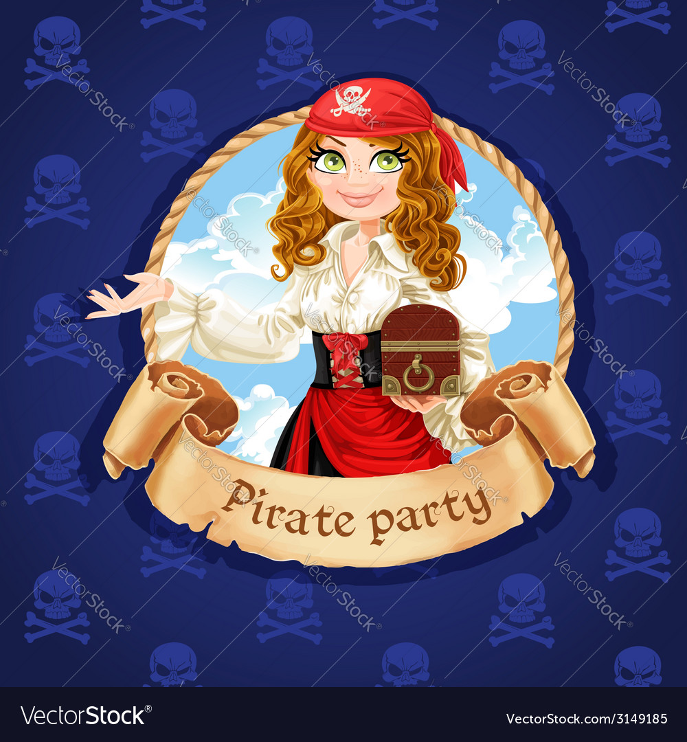 Brave pirate girl with treasure chest vector | Price: 3 Credit (USD $3)