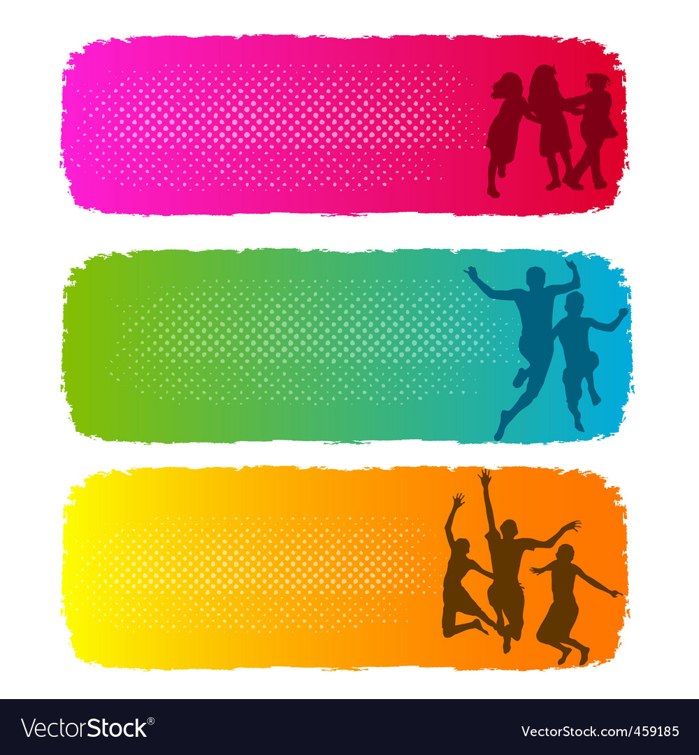 Children playing banners vector | Price: 1 Credit (USD $1)