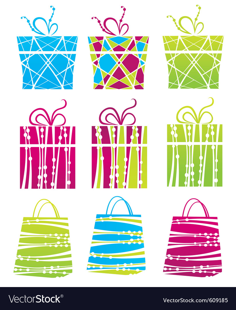 Gift boxes and shopping bags vector | Price: 1 Credit (USD $1)