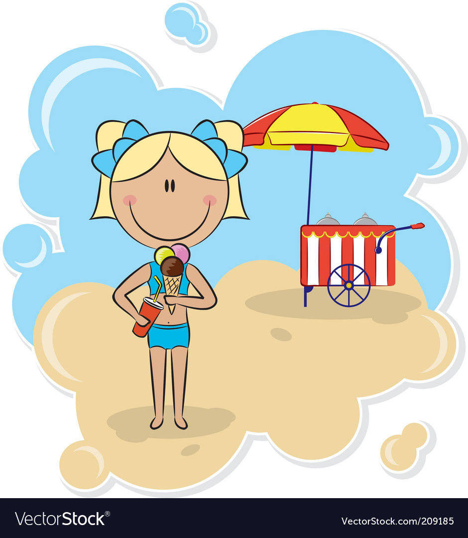 Girl with ice-cream vector | Price: 3 Credit (USD $3)