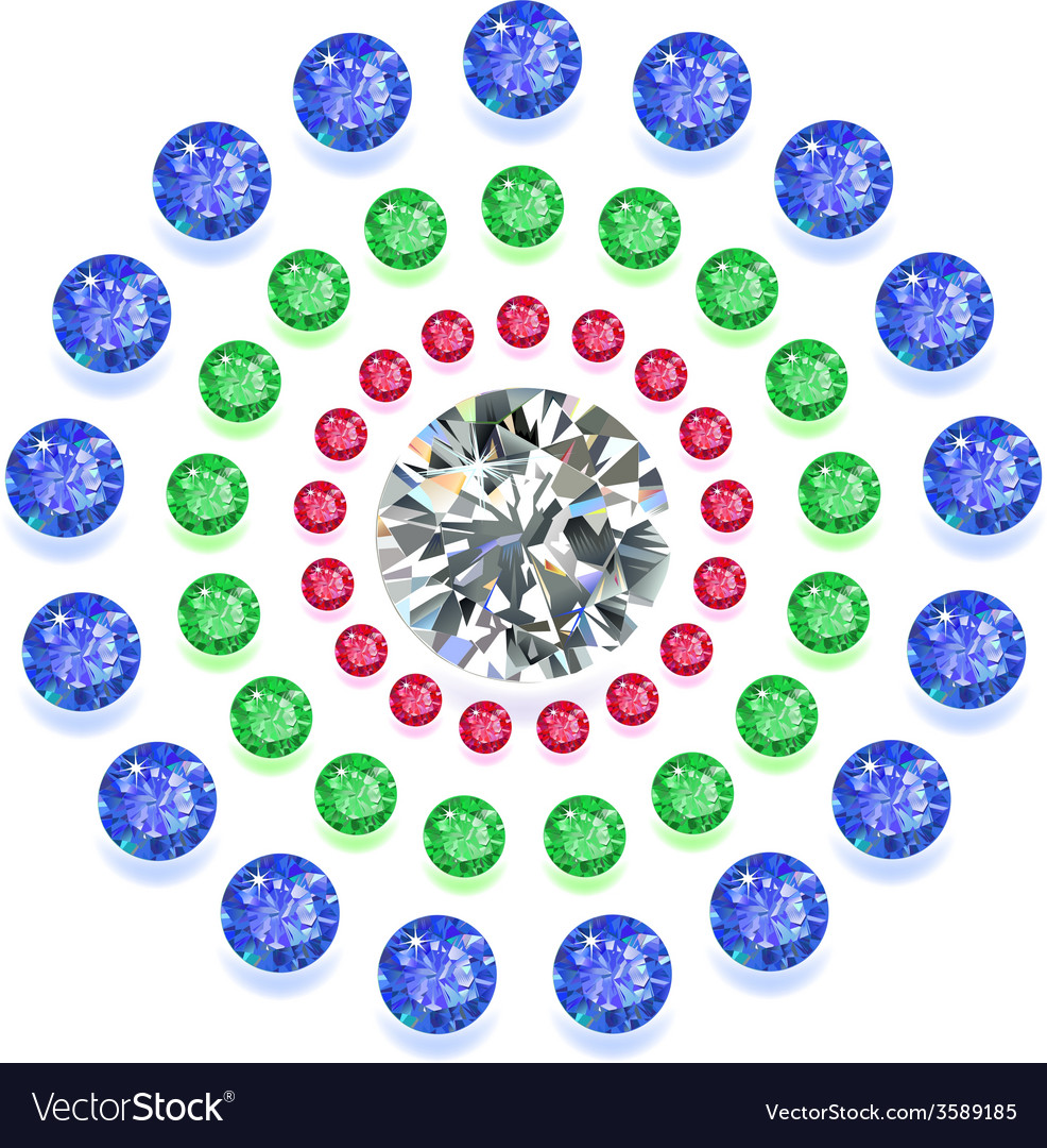 Round composition colored gems set vector | Price: 1 Credit (USD $1)
