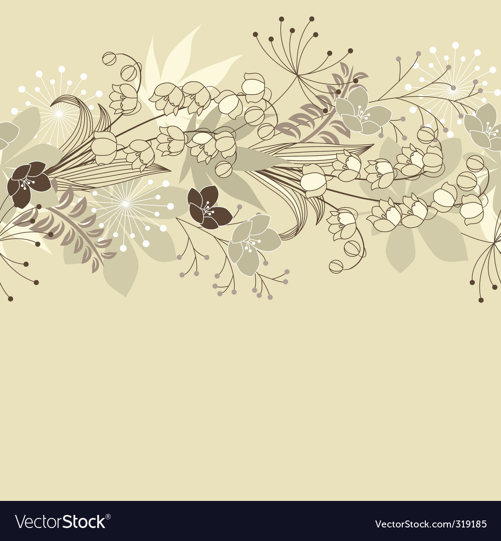 Seamless horizontal floral pastel pattern vector | Price: 1 Credit (USD $1)
