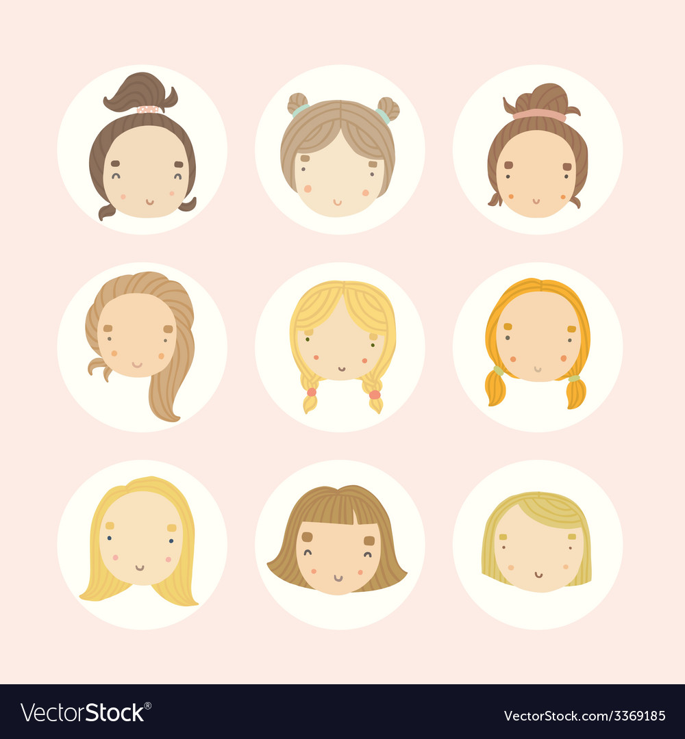 Set of 9 cartoon girls faces vector | Price: 1 Credit (USD $1)