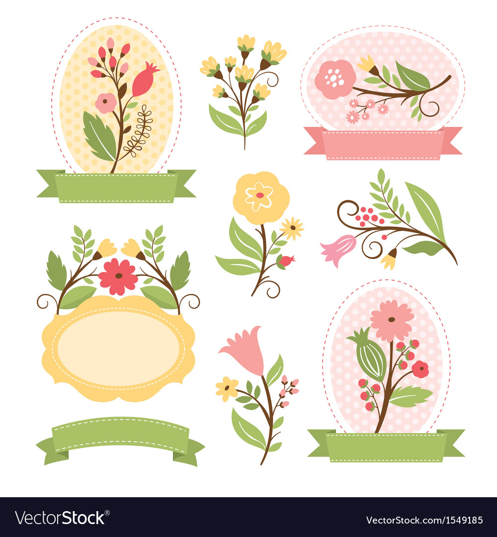 Set of floral bouquets and romantic frames vector | Price: 3 Credit (USD $3)