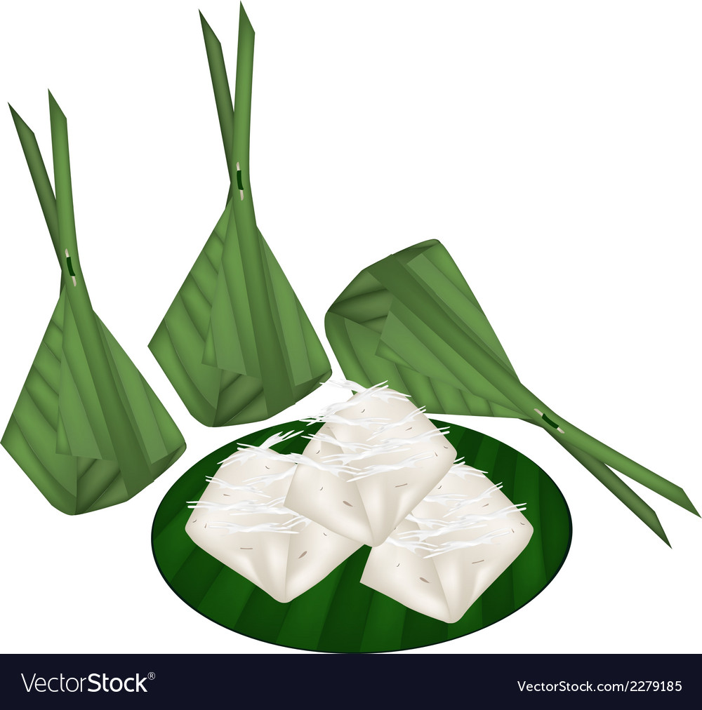 Thai banana pudding in counts banana leaf vector | Price: 1 Credit (USD $1)