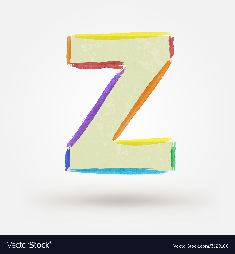 Alphabet letter z watercolor paint design element vector | Price: 1 Credit (USD $1)