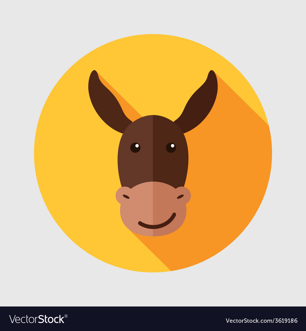 Donkey flat icon with long shadow vector | Price: 1 Credit (USD $1)