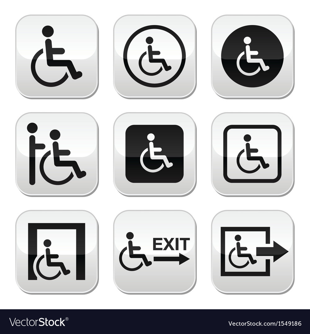Man on wheelchair disabled emergency exit button vector | Price: 1 Credit (USD $1)