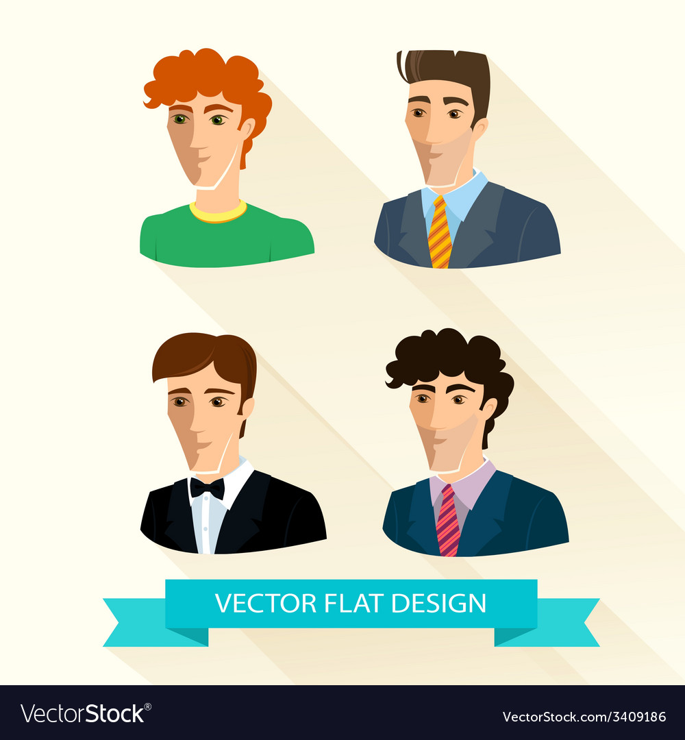 Set of flat design mens portraits vector | Price: 1 Credit (USD $1)