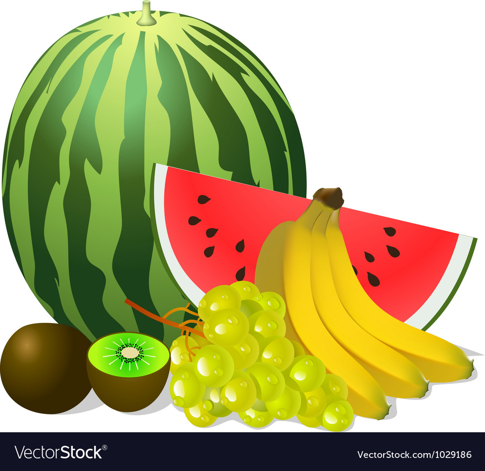 Still life fruits banana watermelon grape kiwi vector | Price: 1 Credit (USD $1)