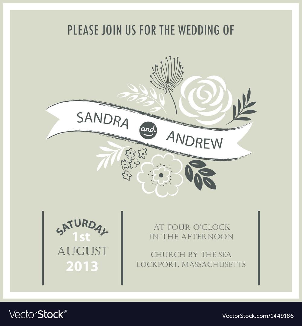 Vintage wedding invitation card vector | Price: 1 Credit (USD $1)