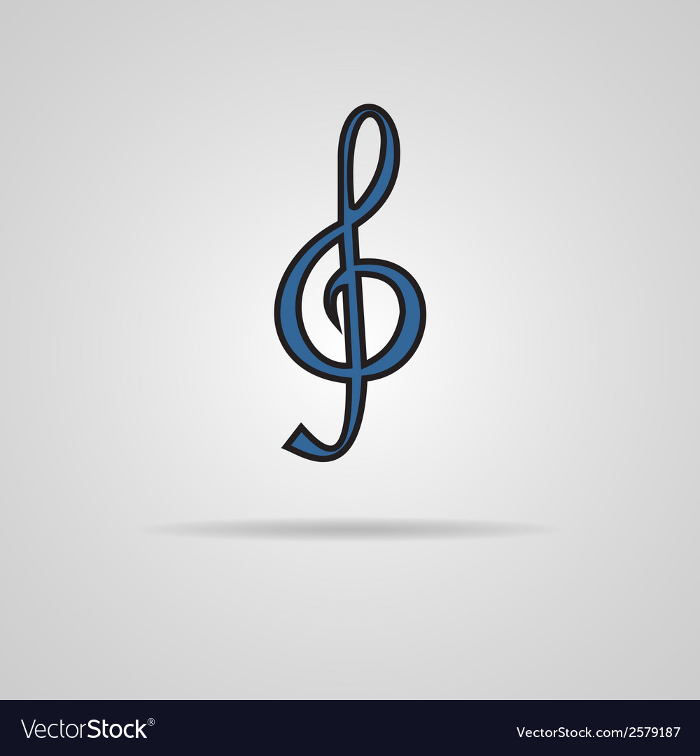 A blue clef isolated on grey vector | Price: 1 Credit (USD $1)