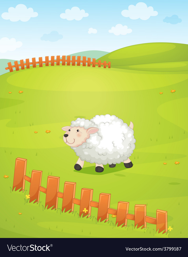 A sheep at the field vector   Price: 1 Credit (USD $1)