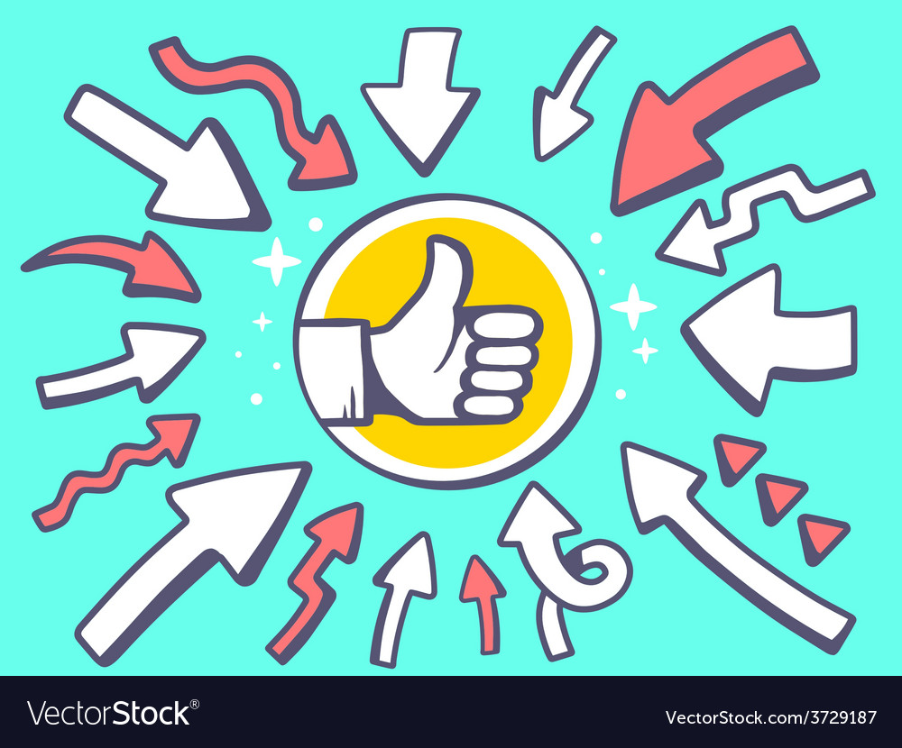 Arrows point to icon of thumb up on green vector | Price: 1 Credit (USD $1)
