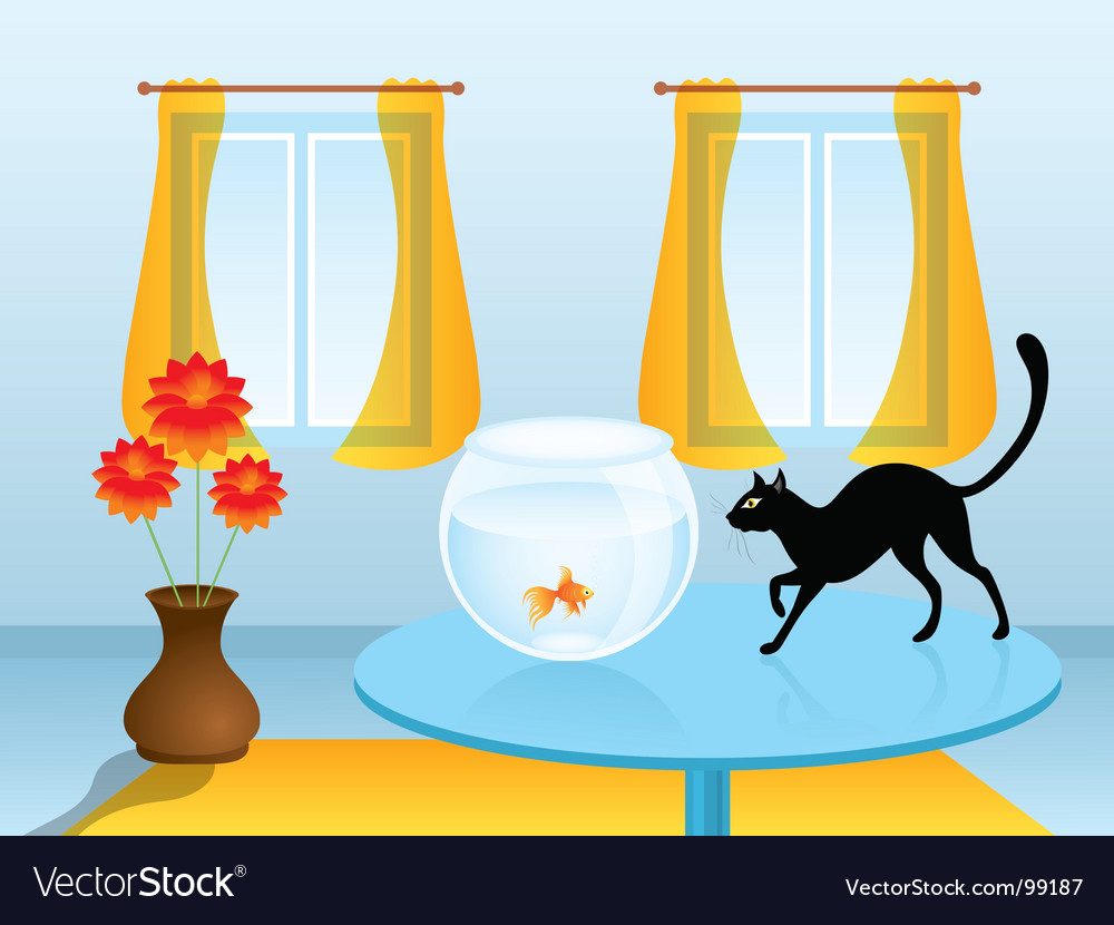 Black cat hunting goldfish vector | Price: 1 Credit (USD $1)