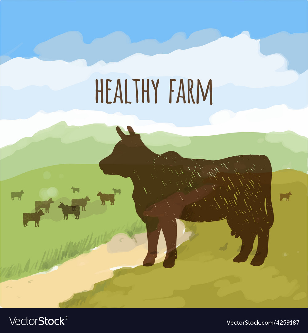 Cow on the meadow vector | Price: 1 Credit (USD $1)