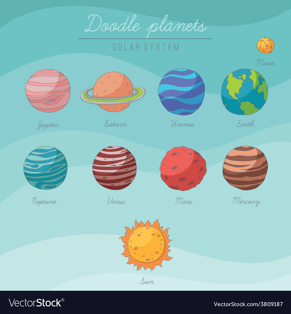 Doodle planets collection vector | Price: 1 Credit (USD $1)