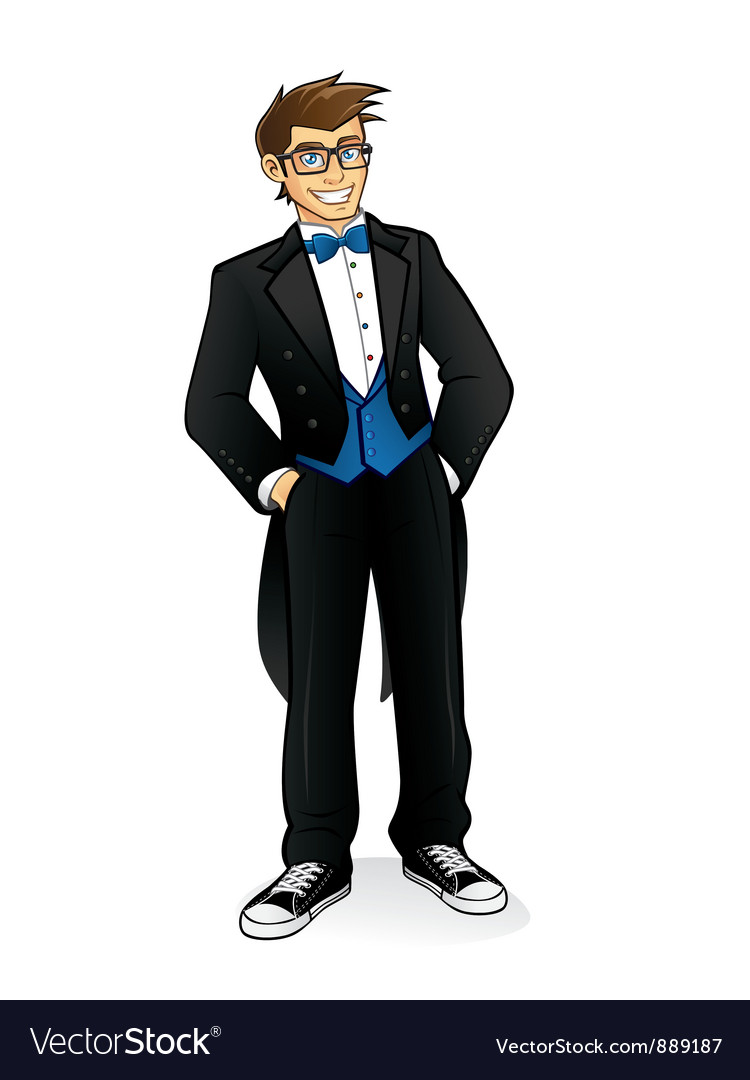 Executive geek standing vector | Price: 5 Credit (USD $5)