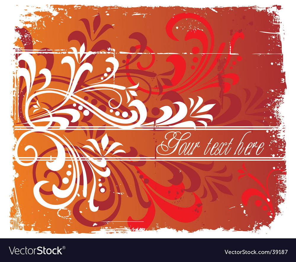 Floral grunge background copy space vector | Price: 1 Credit (USD $1)