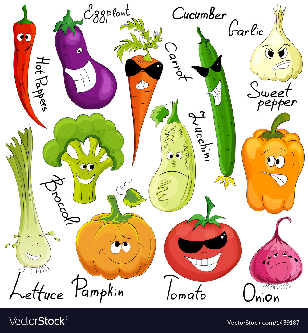 Funny vegetable cartoon isolated vector | Price: 1 Credit (USD $1)