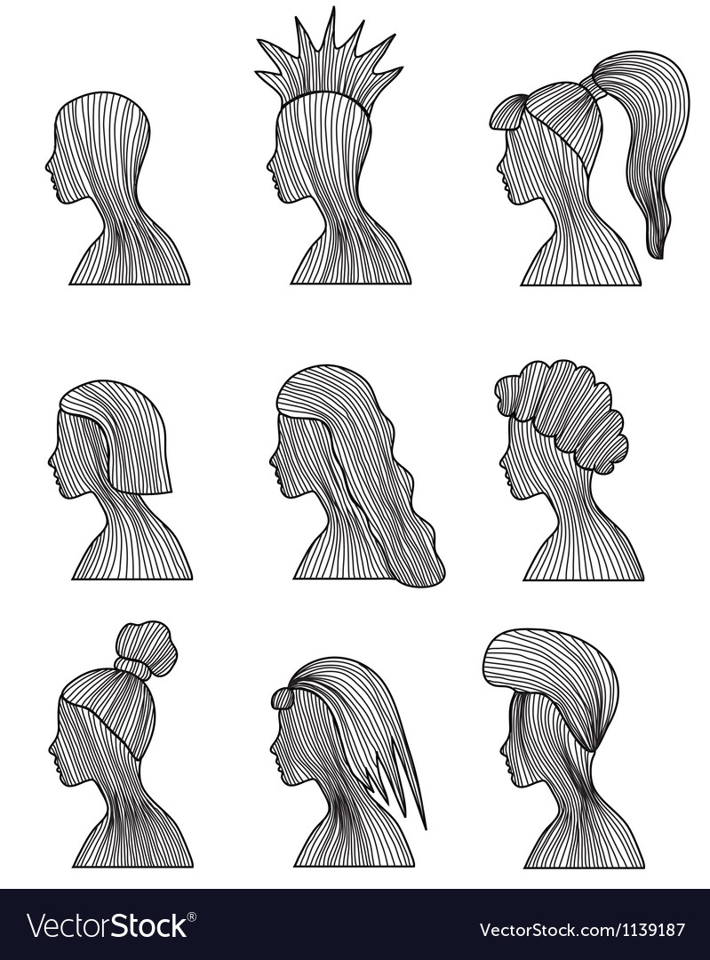 Hairstyles set vector | Price: 1 Credit (USD $1)