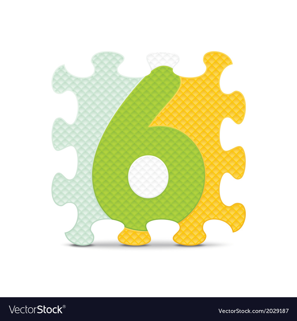 Number 6 written with alphabet puzzle vector | Price: 1 Credit (USD $1)