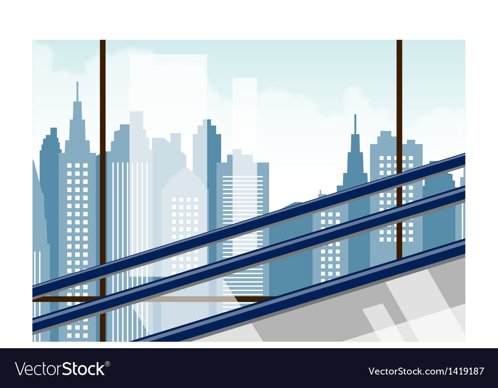 Skyscraper escalator view vector | Price: 1 Credit (USD $1)