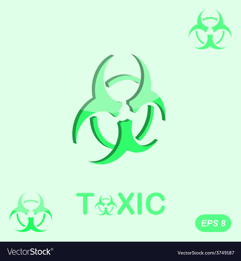 Toxic sign on green background vector | Price: 1 Credit (USD $1)