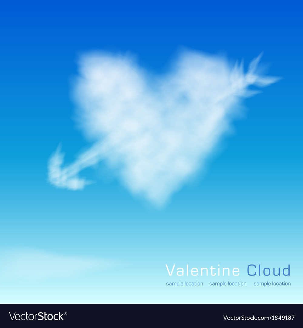 Valentine cloud on th sky background vector | Price: 1 Credit (USD $1)