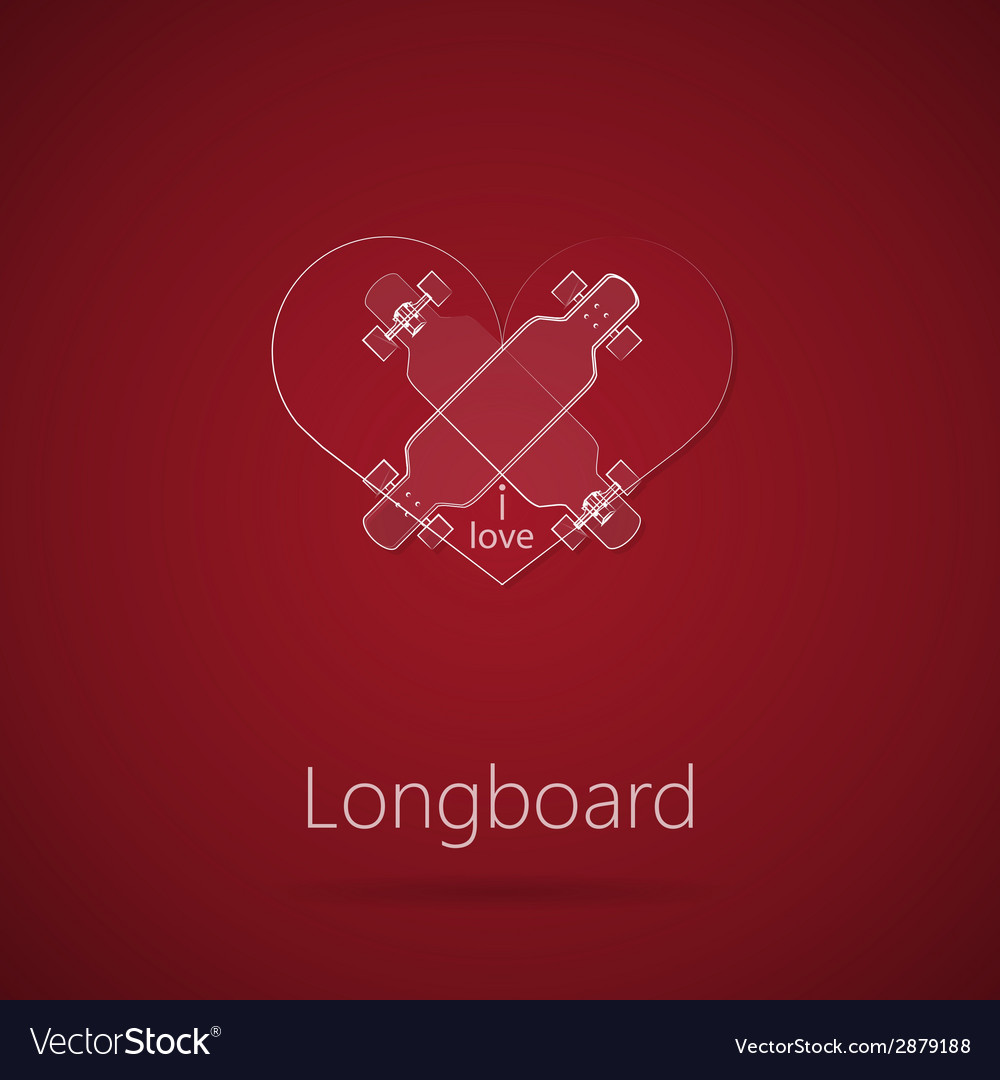 Abstract of love to longboard vector | Price: 1 Credit (USD $1)