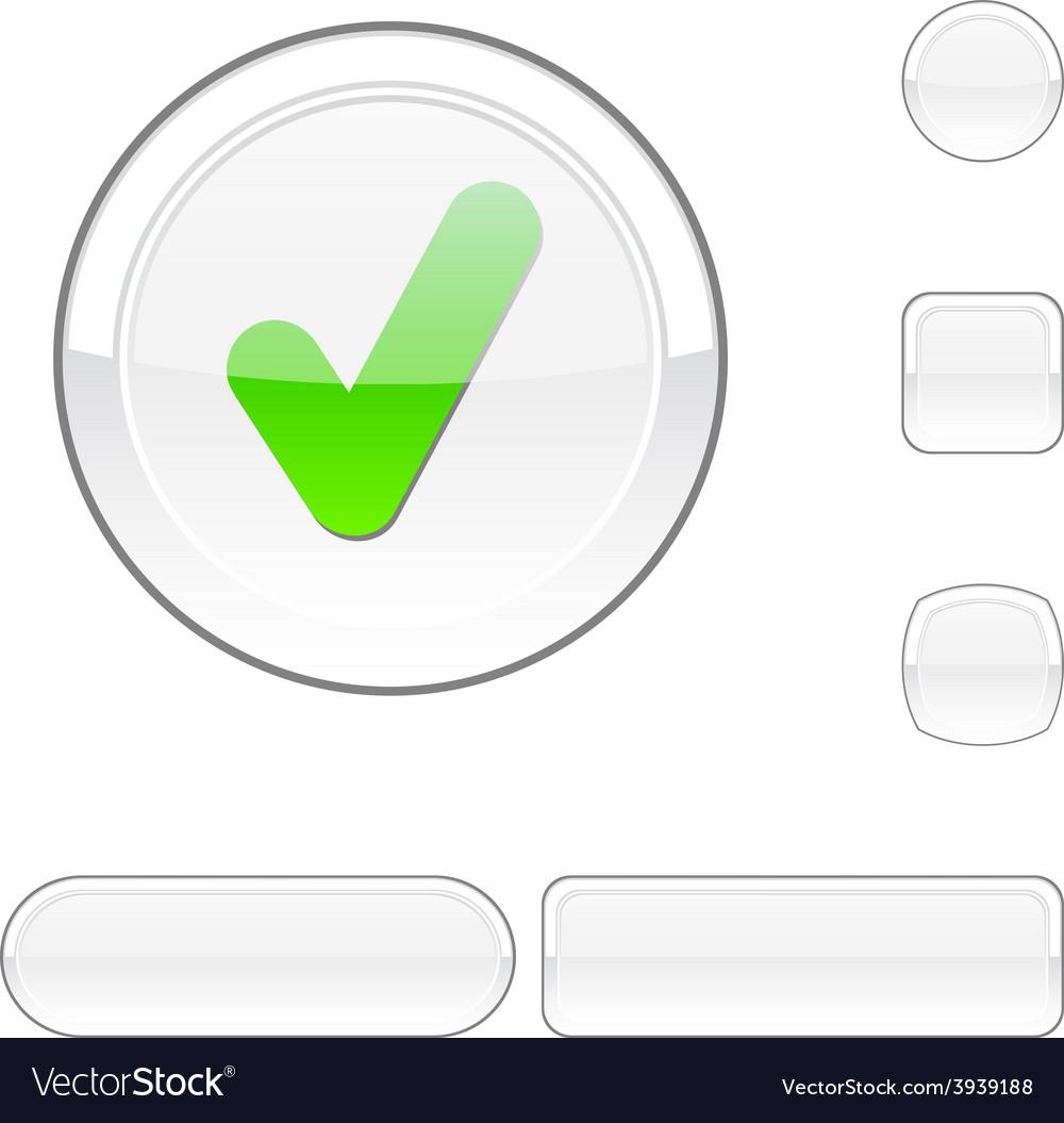 Check white button vector | Price: 1 Credit (USD $1)