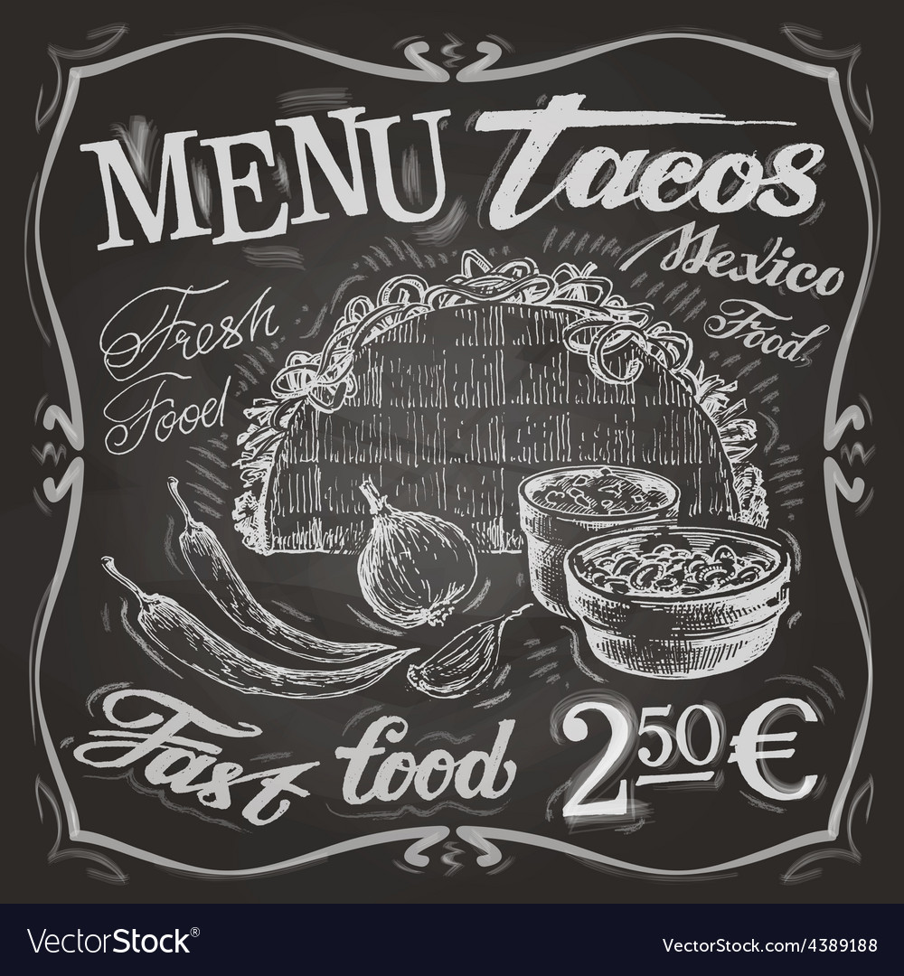 Mexican food logo design template tacos burritos vector | Price: 3 Credit (USD $3)
