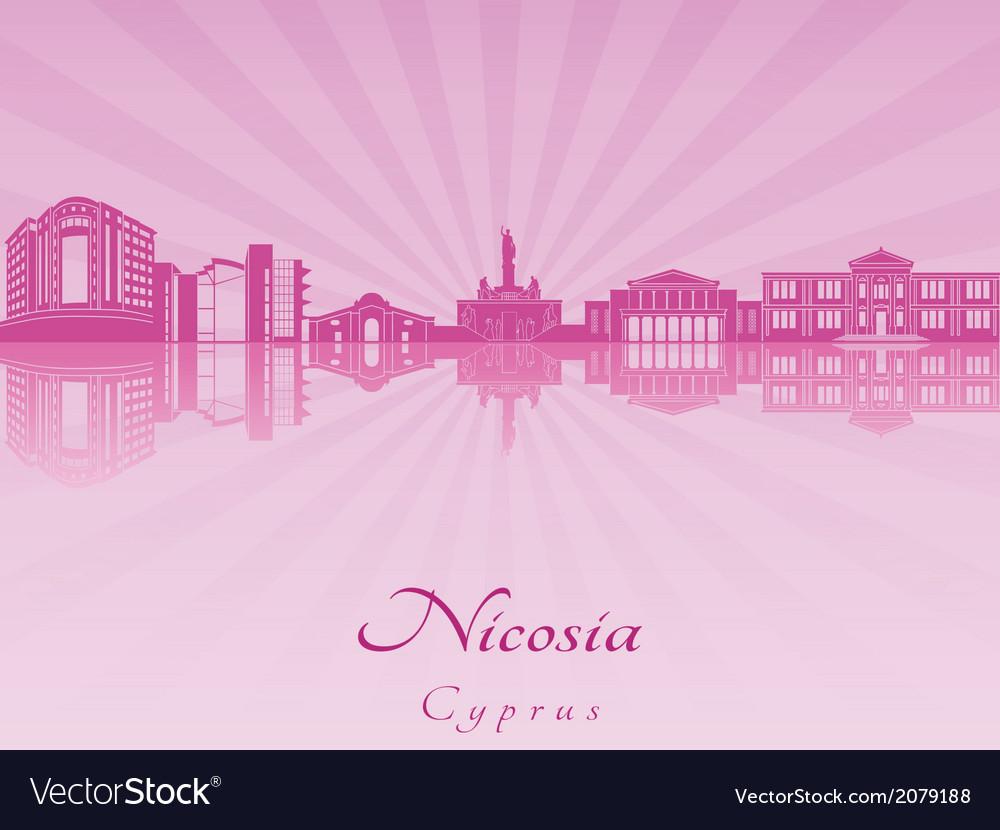 Nicosia skyline in purple radiant orchid vector | Price: 1 Credit (USD $1)