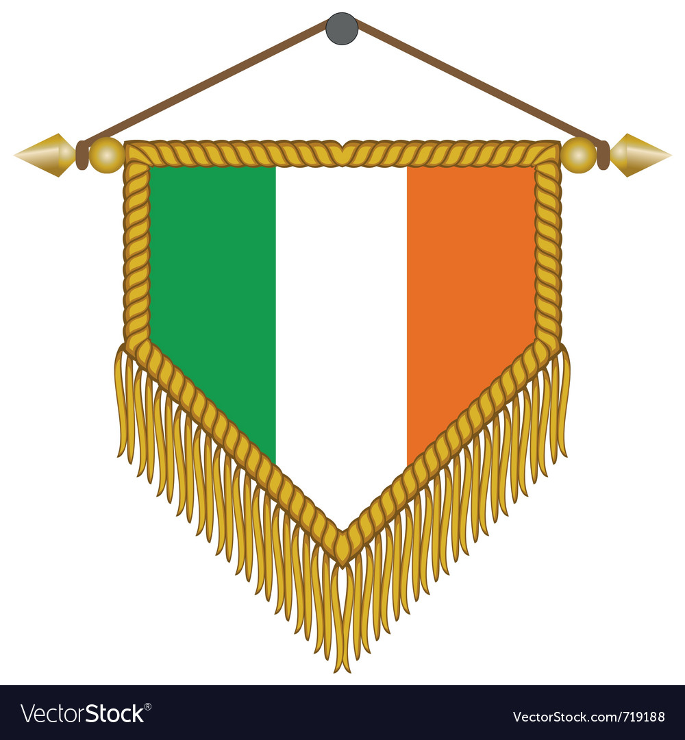Pennant with the flag of ireland vector | Price: 1 Credit (USD $1)