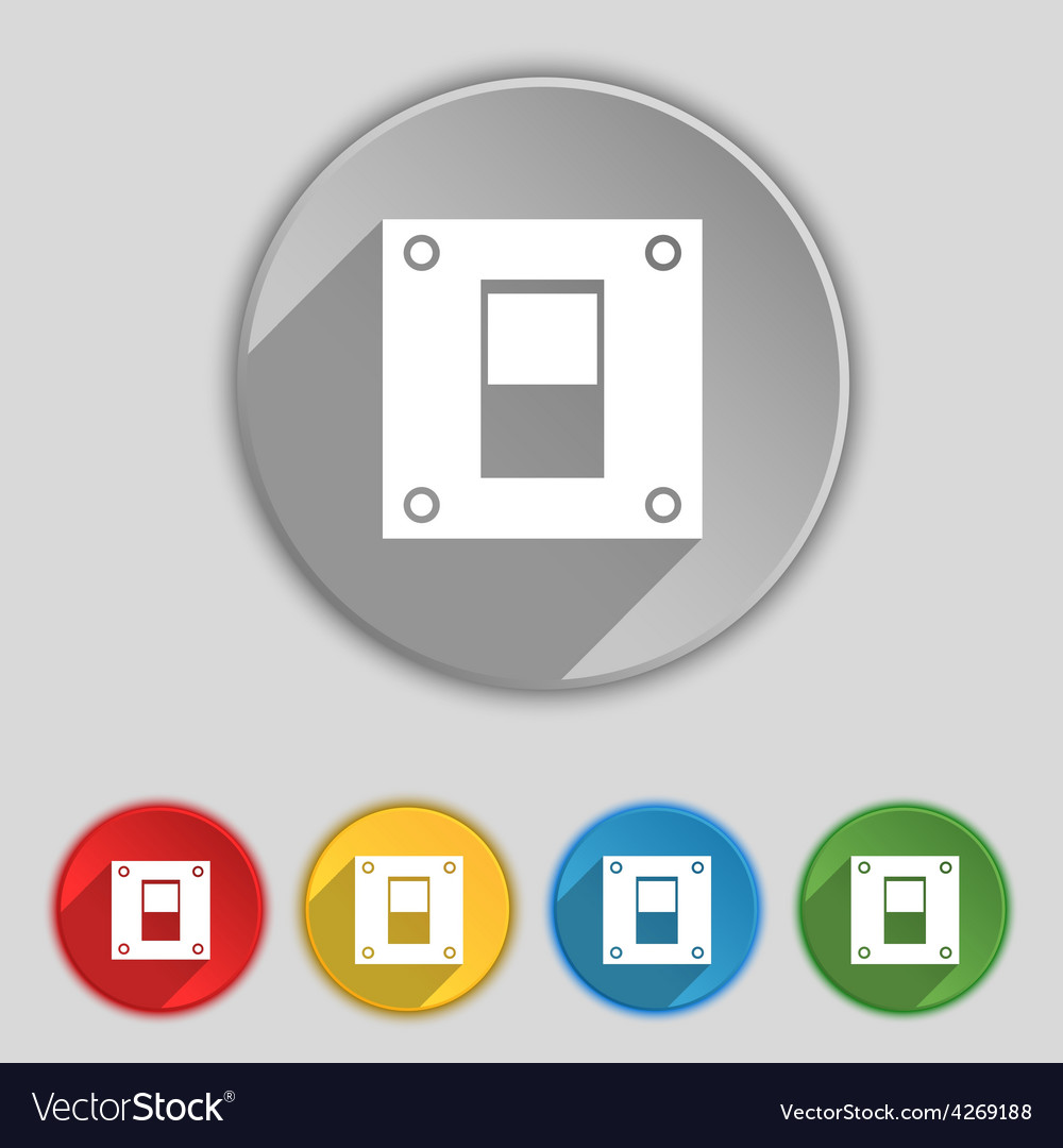 Power switch icon sign symbol on five flat buttons vector | Price: 1 Credit (USD $1)