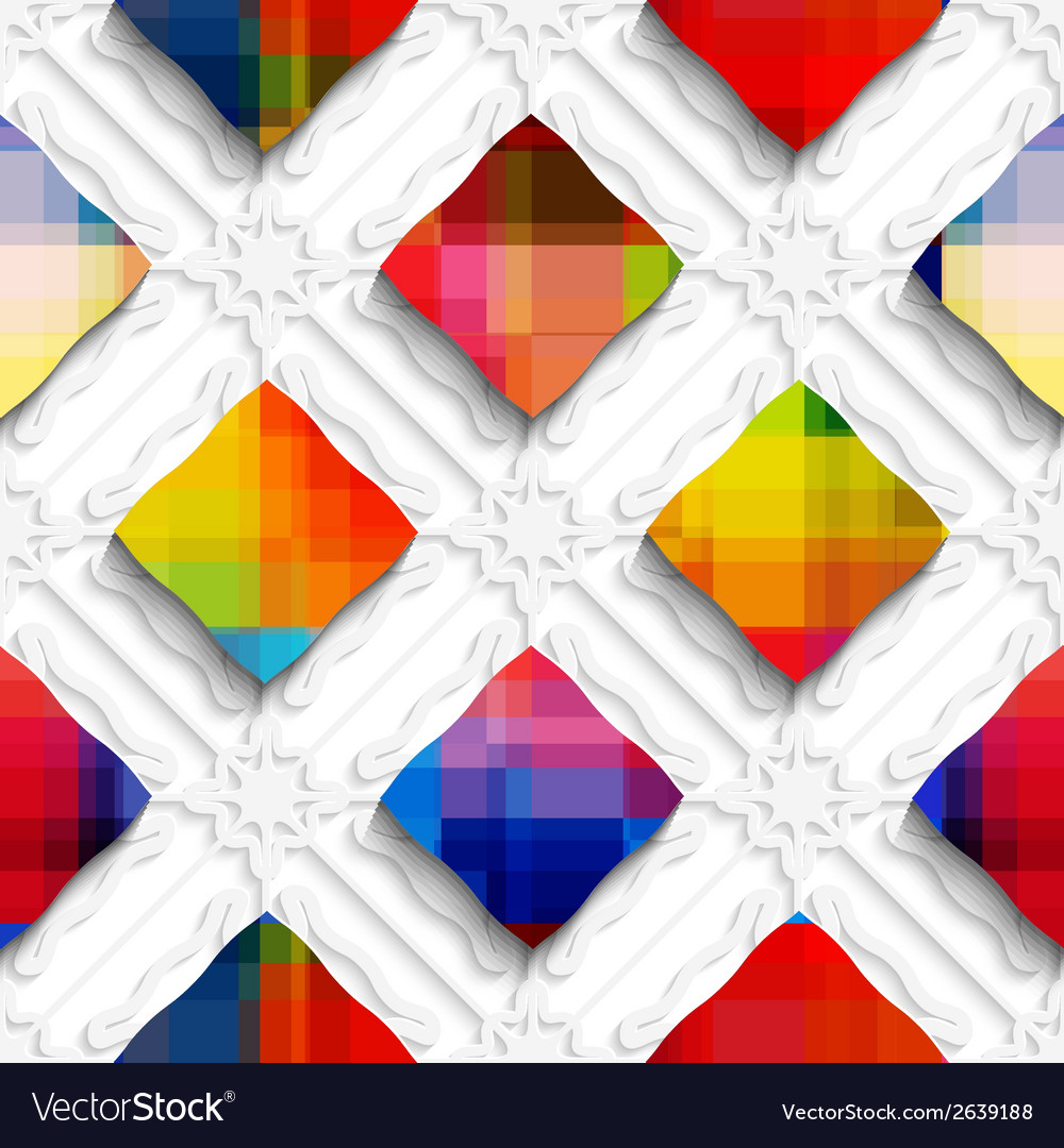 Rainbow colored rectangles on white ornament vector | Price: 1 Credit (USD $1)