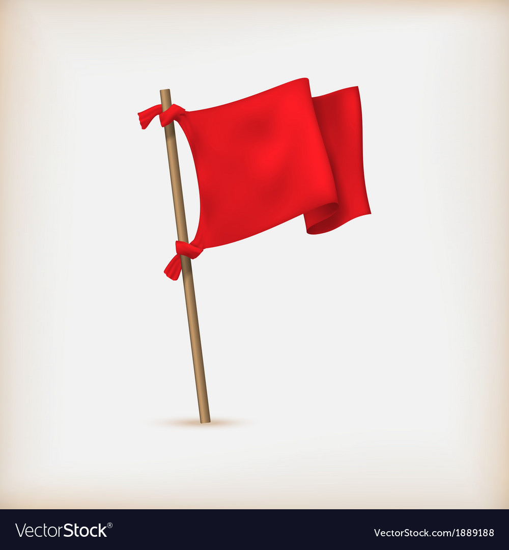 Realistic red flag icon vector | Price: 1 Credit (USD $1)