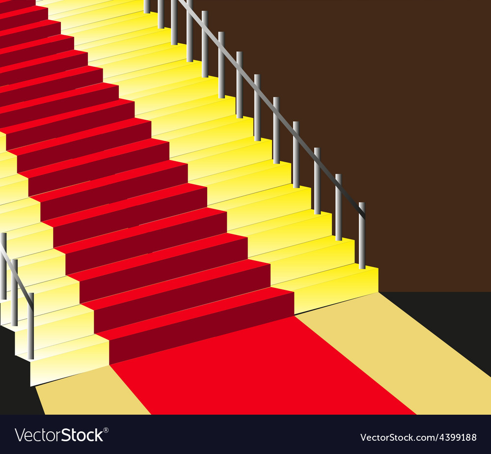 Red carpet staircase background vector | Price: 3 Credit (USD $3)