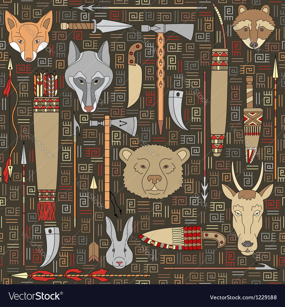 Seamless pattern of indian hunting vector | Price: 3 Credit (USD $3)