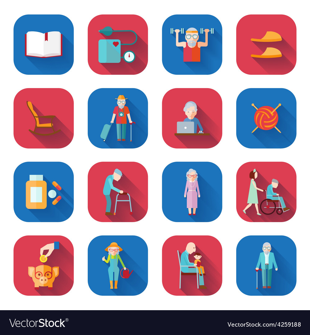 Senior lifestyle flat icons vector | Price: 1 Credit (USD $1)