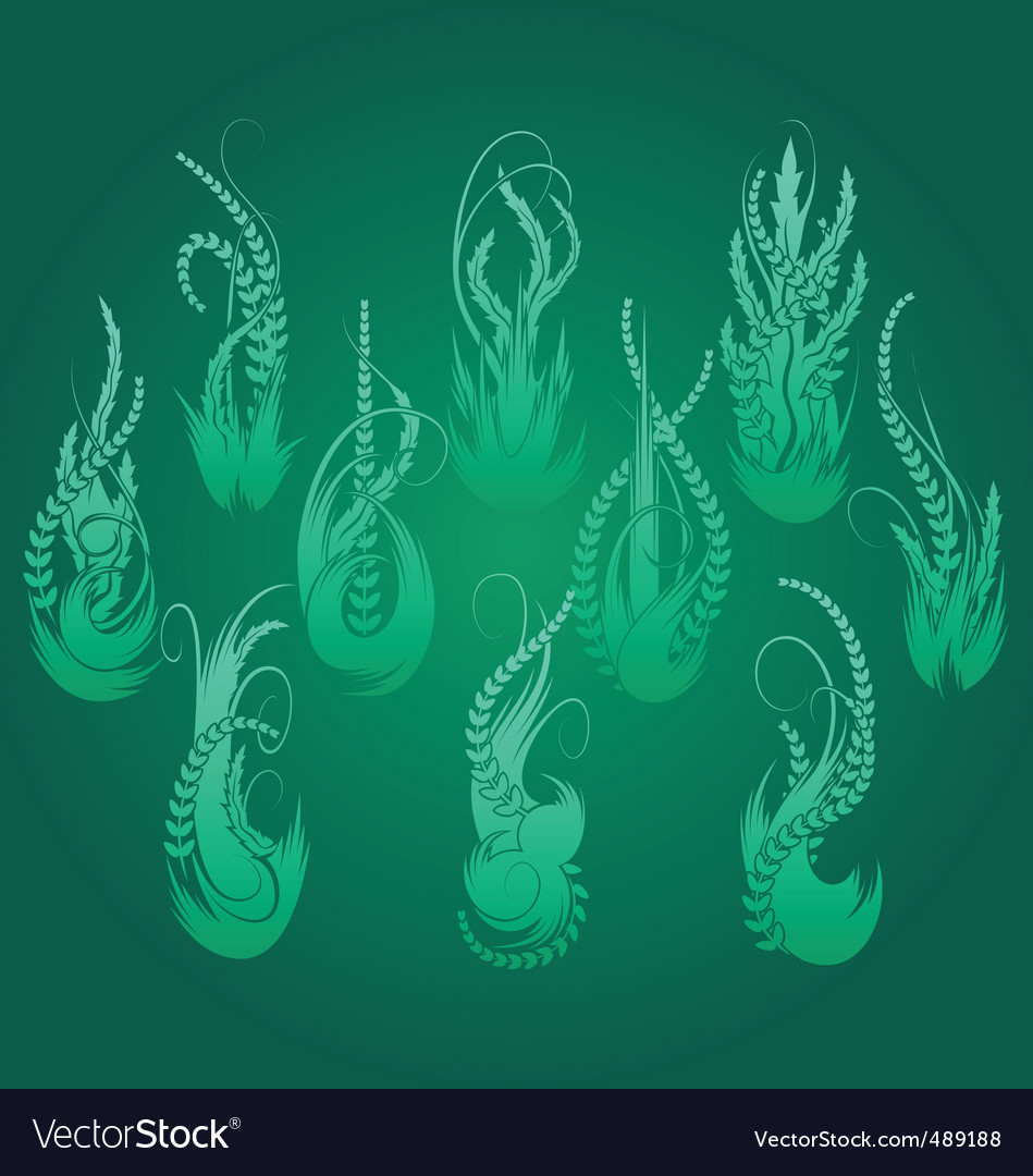 Vertical foliage shapes vector | Price: 1 Credit (USD $1)
