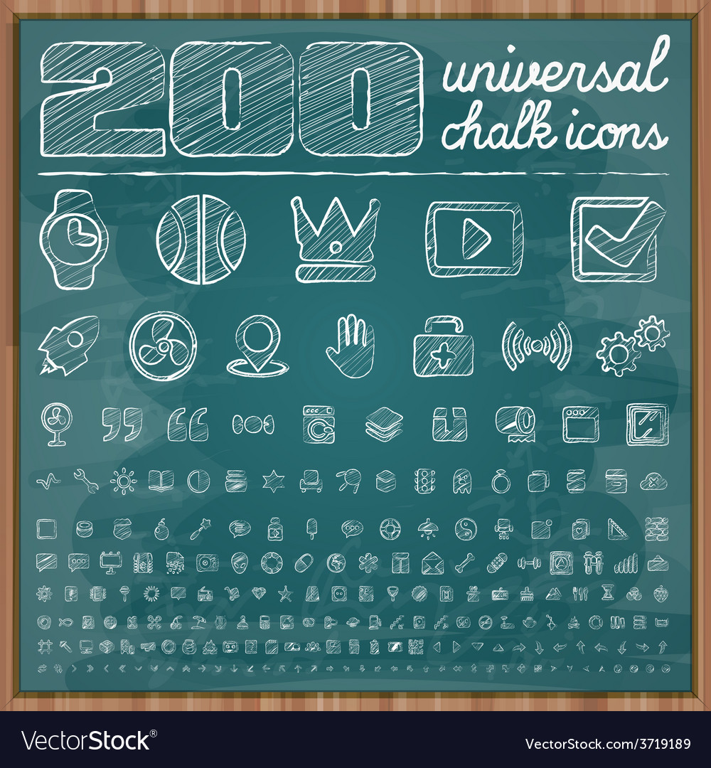 200 universal icons in chalk doodle style set 2 vector | Price: 1 Credit (USD $1)