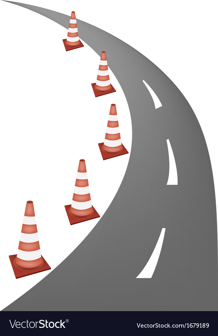 A line of warning traffic cones on road vector | Price: 1 Credit (USD $1)