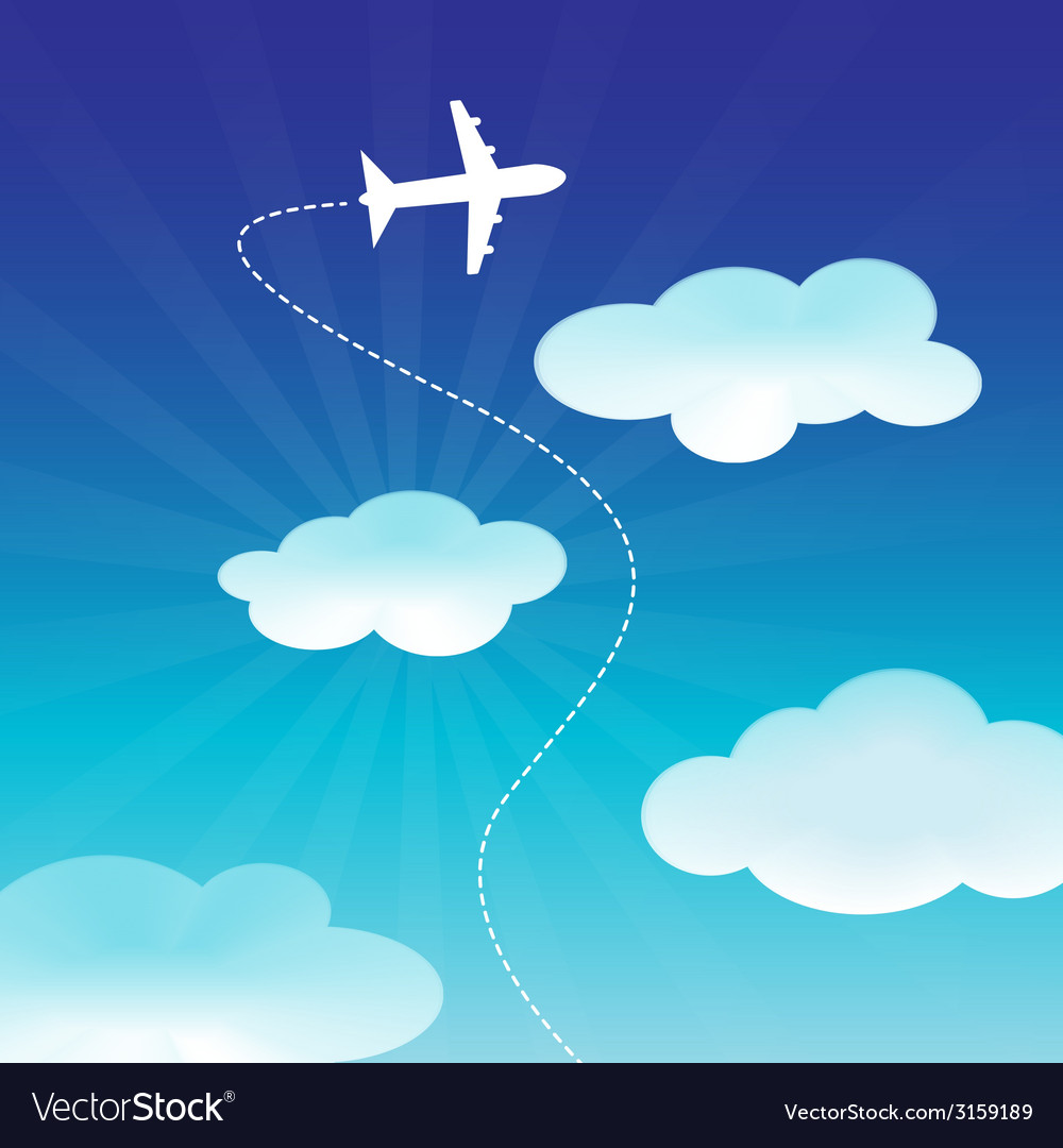 Airplane flying on the blue sky vector | Price: 1 Credit (USD $1)