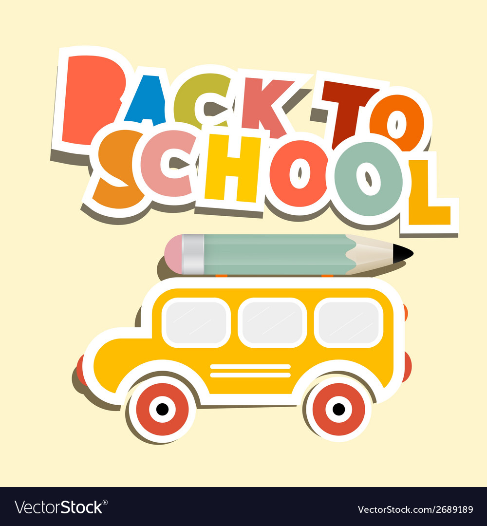 Back to school title with yellow bus vector | Price: 1 Credit (USD $1)