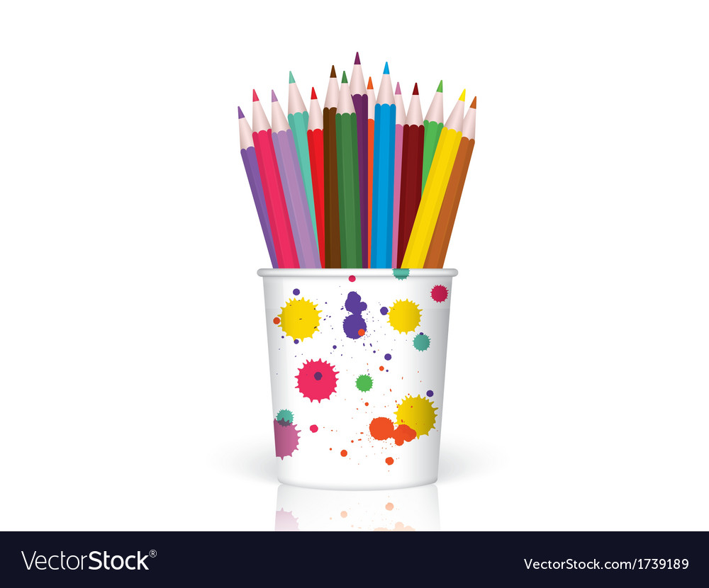 Colored pencils in plastic container vector   Price: 1 Credit (USD $1)