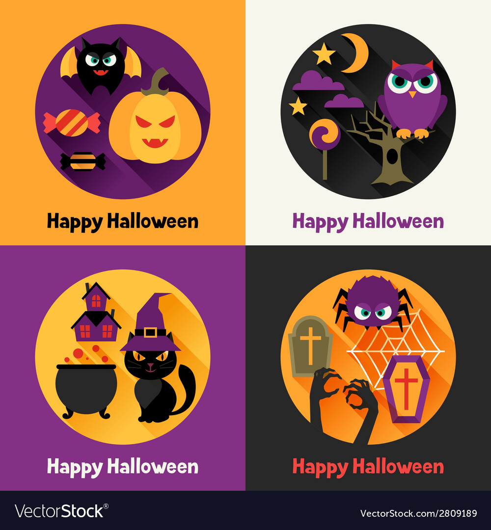 Happy halloween greeting cards in flat design vector | Price: 1 Credit (USD $1)