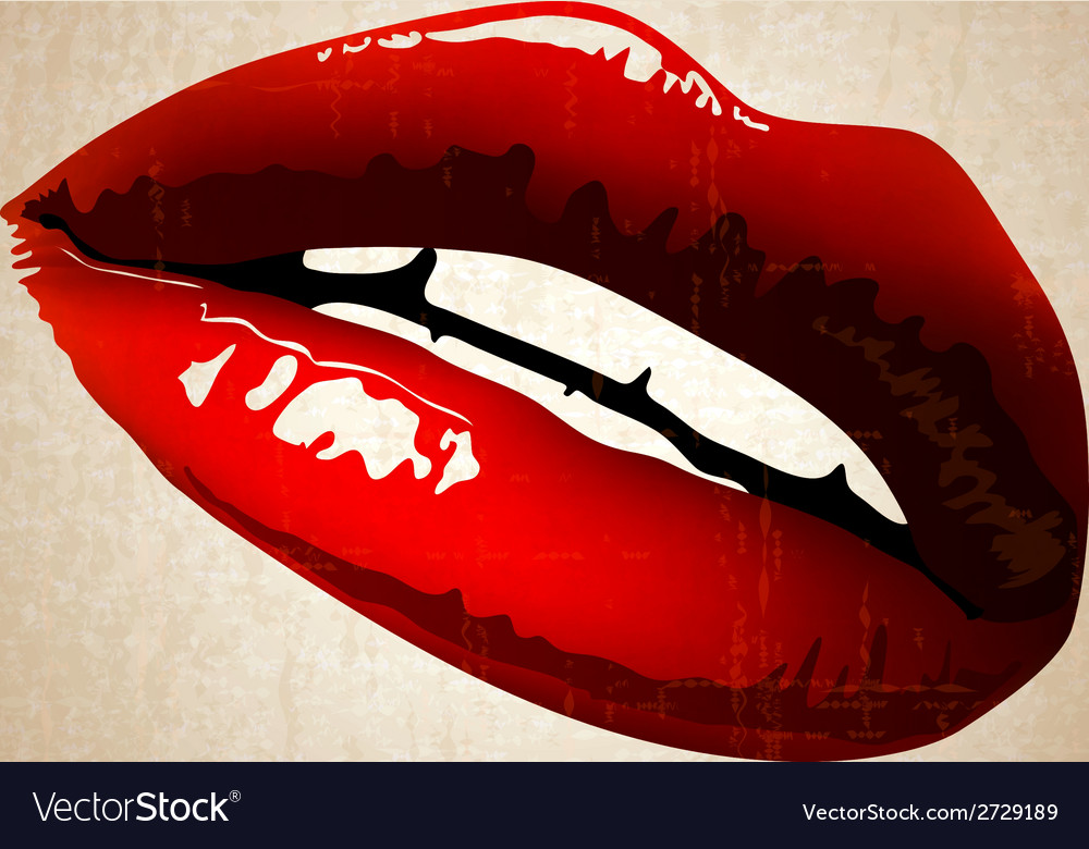 Lips art vintage vector | Price: 1 Credit (USD $1)