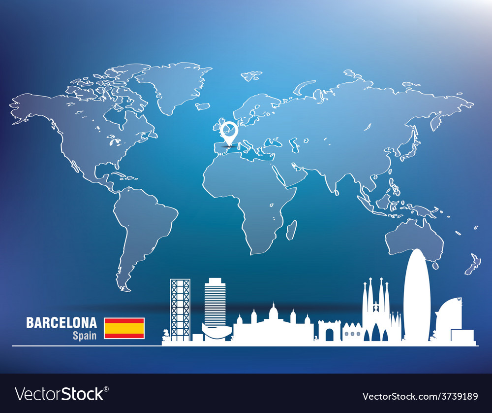 Map pin with barcelona skyline vector | Price: 1 Credit (USD $1)